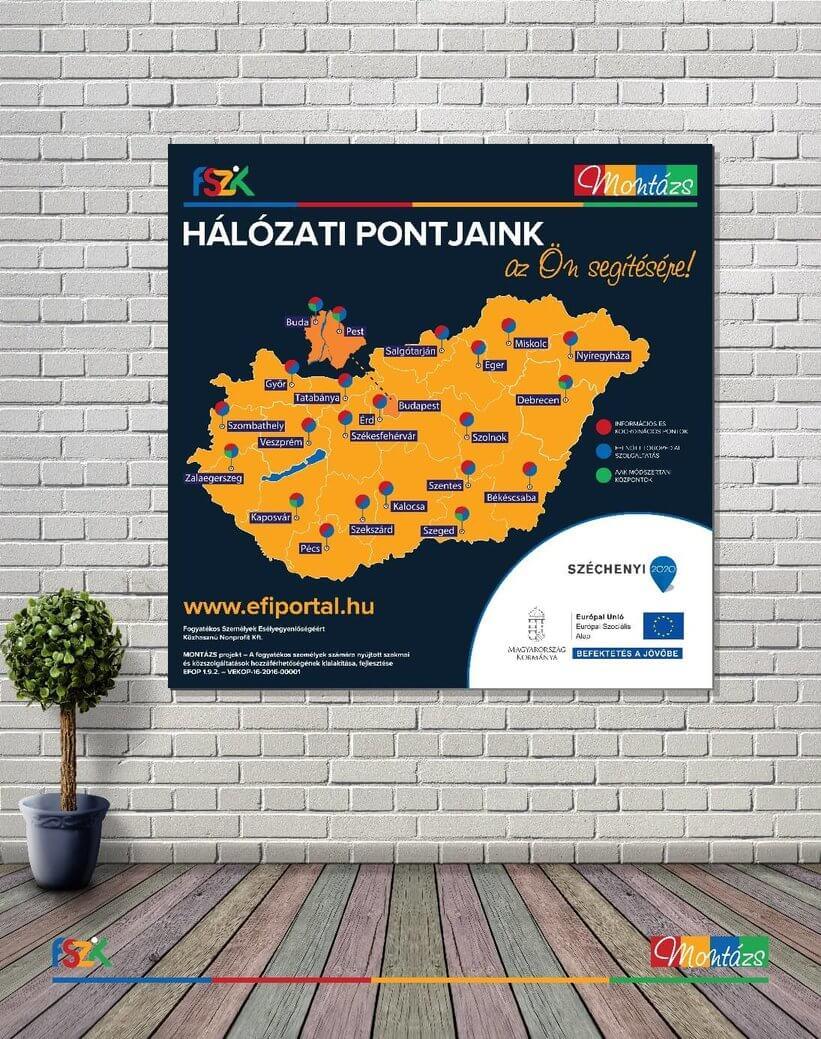 A képen Magyarország térképe látható, amelyen megjelölésre kerültek a központok városai: Nyíregyháza, Miskolc, Debrecen, Eger, Szolnok, Békéscsaba, Salgótarján, Budapest, Szentes, Szeged, Érd, székesfehérvár, Kalocsa, Szekszárd, Tatabánya, Győr, Szombathely, Zalaegerszeg, Kaposvár, Pécs