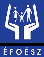 A képen az ÉFOÉSZ logója látható. Két tenyér között egy szülői pár fogja egy kisgyermek kezét.