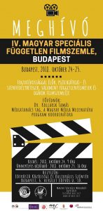 A képen a program plakátja látható. Meghívó a filmszemlére helyszín, időpont megjelölésével.