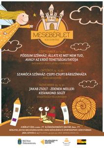 A képen a program posztere látható. Ceruza alakú házikók között egy csiga áll, és a kezében egy bögrét tart.