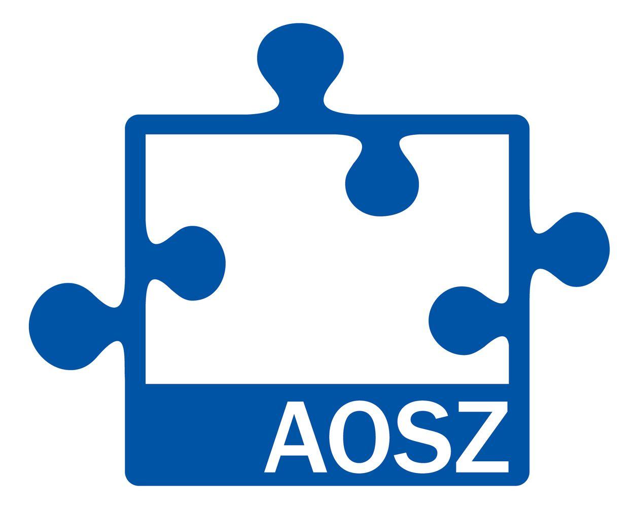 A képen kék színnel egy kirakó darabja látható AOSZ felirattal.
