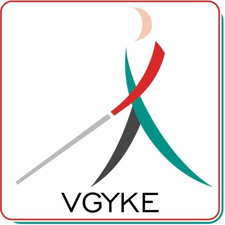 A képen a VGYKE logója látható. ogója, egy fehér botos emberke színes piktogramja piros keretben.