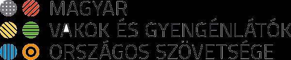 A képen a MVGYOSZ logója látható. Elemei: Baloldalon egy 6 pontból álló (Braille-jelhez hasonló) színes grafika látható, jobb oldalon szövetség teljes neve olvasható.