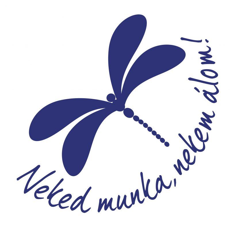 A képen egy kék rajzolt szitakötő látható, alatta az alábbi felirattal: Neked munka, nekem álom!
