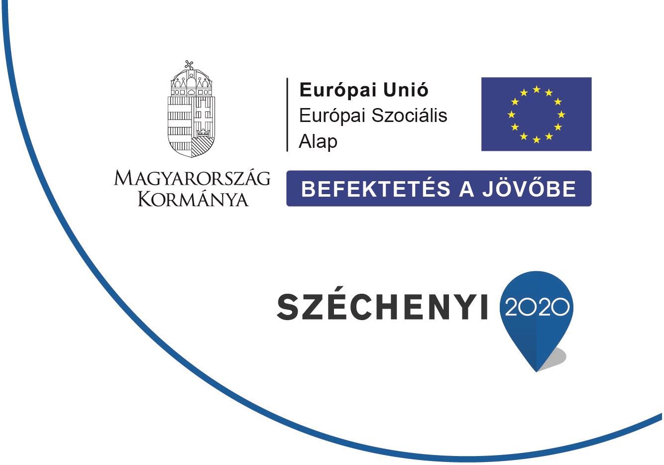 A képen a kötelező infoblokk látható az alábbi feliratokkal: Magyarország kormánya, Európai Unió Európai Szociális alap, Széchenyi 2020