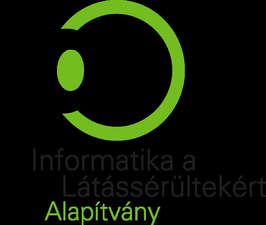 A képen az Informatika a Látássérültekért Alapítvány logója látható, amelyen egy rajzolt szem látható.