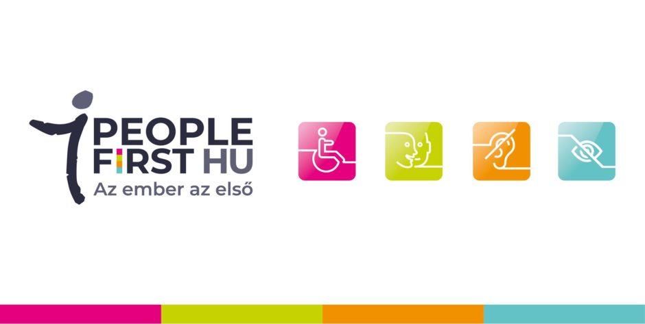 A képen a People First Egyesület logója látható. Felirata: Az ember az első.