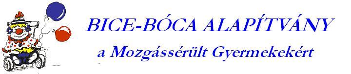 A képen a Bice-Bóca Alapítvány logója látható: kerekesszékben ülő mosolyogó bohóc, aki két lufit tart a kezében.