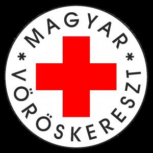 A képen fehér alapon egy piros kereszt, illetve a szervezet neve látható fekete betűkkel körbeírva.