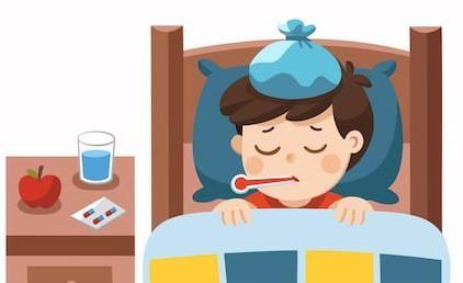 A képen egy ágyban fekvő fiú látható hőmérővel a szájában
