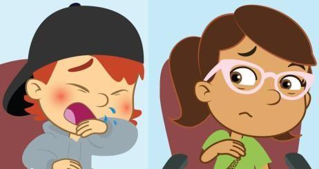 A képen egy fiú és egy lány látható. A fiú éppen tüsszent és a könyökét teszi a szája elé.